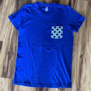 Basic blue tshirt with cute polka cupcake pocket